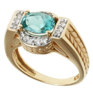 Michael Valitutti 14k Yellow Gold Blue Oval Apatite and Diamond Ring