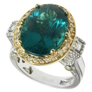 Michael Valitutti 18k Two-tone Gold Oval-cut Paraiba-apatite and Diamond Ring