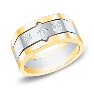 Auriya 14k Two-tone Gold Men's 1/2ct TDW Princess Cut Satin Diamond Ring (H-I, SI1-SI2)