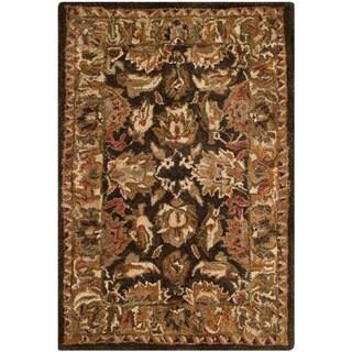 Safavieh Hand-made Anatolia Dark Brown/ Gold Wool Rug (2' x 3')