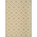 Safavieh Indoor/ Outdoor Courtyard Green/ Beige Area Rug (6'7'' x 9'6'')