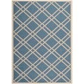 Safavieh Indoor/ Outdoor Courtyard Crisscross-pattern Blue/ Beige Rug (5'3'' x 7'7'')