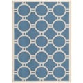 Safavieh Indoor/ Outdoor Courtyard Circles-pattern Blue/ Beige Rug (5'3'' x 7'7'')