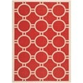 Safavieh Indoor/ Outdoor Courtyard Red/ Bone Rug (5'3 x 7'7)