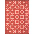 Safavieh Indoor/ Outdoor Courtyard Squares-and-circles Red/ Bone Rug (5'3'' x 7'7'')