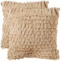 Safavieh Cali Shag 18-inch Champagne Feather/ Down Decorative Pillows (Set of 2)