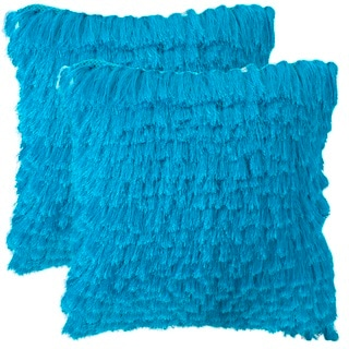 Safavieh Cali Shag 18-inch Electric Blue Feather/ Down Decorative Pillows (Set of 2)