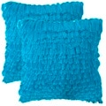 Safavieh Cali Shag 22-inch Electric Blue Feather/ Down Decorative Pillows (Set of 2)