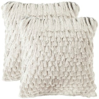 Safavieh Cali Shag 22-inch Platinum Feather and Down Decorative Pillows (Set of 2)
