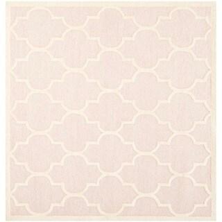 Safavieh Handmade Moroccan Cambridge Light Pink/ Ivory Wool Rug (8' Square)