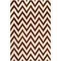 Safavieh Handmade Moroccan Cambridge Chevron-pattern Dark Brown/ Ivory Wool Rug (6' x 9')