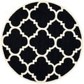 Safavieh Handmade Moroccan Cambridge Black/ Ivory Wool Rug (6' Round)