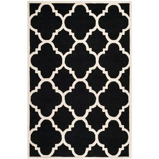 Safavieh Handmade Moroccan Cambridge Black/ Ivory Wool Rug (8' x 10')
