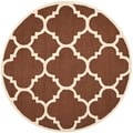Safavieh Handmade Moroccan Cambridge Dark Brown/ Ivory Wool Rug (6' Round)