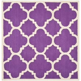 Safavieh Handmade Moroccan Cambridge Purple/ Ivory Wool Rug (6' Square)