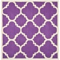 Safavieh Handmade Moroccan Cambridge Purple/ Ivory Wool Rug (6' Square)