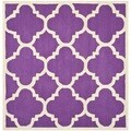 Safavieh Handmade Moroccan Cambridge Purple/ Ivory Wool Rug (8' Square)
