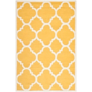 Safavieh Handmade Moroccan Cambridge Gold/ Ivory Wool Area Rug (8' x 10')