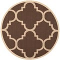 Safavieh Indoor/ Outdoor Courtyard Dark Brown Area Rug (5'3 Round)