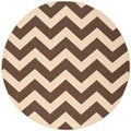 Safavieh Indoor/ Outdoor Courtyard Dark Brown Area Rug (7'10'' Round)