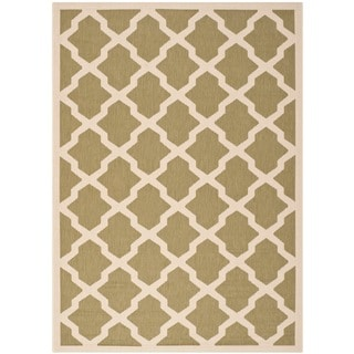 Safavieh Indoor/ Outdoor Courtyard Green/ Beige Geometric Rug (9' x 12')