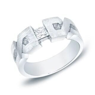 "Auriya 14k White or Yellow Gold Men's 1/3ct TDW Satin Finish Diamond ""X"" Ring (H-I, SI1-SI2)"