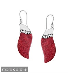 Sterling Silver Bali Gemstone Wave Dangle Earrings (Indonesia)