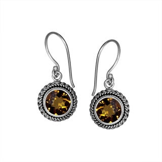 Sterling Silver Bali Faceted Round Citrine Dangle Earrings (Indonesia)