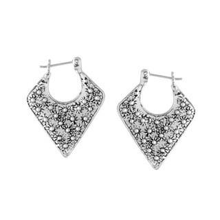 Sterling Silver Bali Petite Floral Design Hoop Earrings (Indonesia)