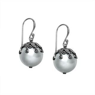 Sterling Silver Bali Shell Pearl Dangle Earrings (Indonesia)