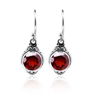 Sterling Silver Bali Faceted Garnet Dangle Earrings (Indonesia)