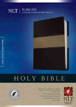Holy Bible: New Living Translation, Tutone Black/Taupe, Leather-Like Slimline Center Column Reference (Paperback)