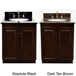 Dark Walnut/ Natural Granite Top 24-inch Single Sink Bathroom Vanity
