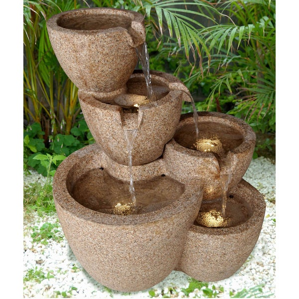 Outdoor/ Indoor LED Lit Multi-pots Sandstone Water Fountain