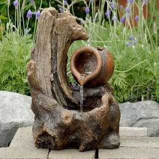 Tabletop Wood Stump Water Fountain