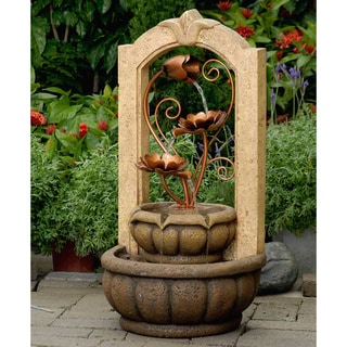 Brass Metal Flowers Outdoor/ Indoor Water Fountain