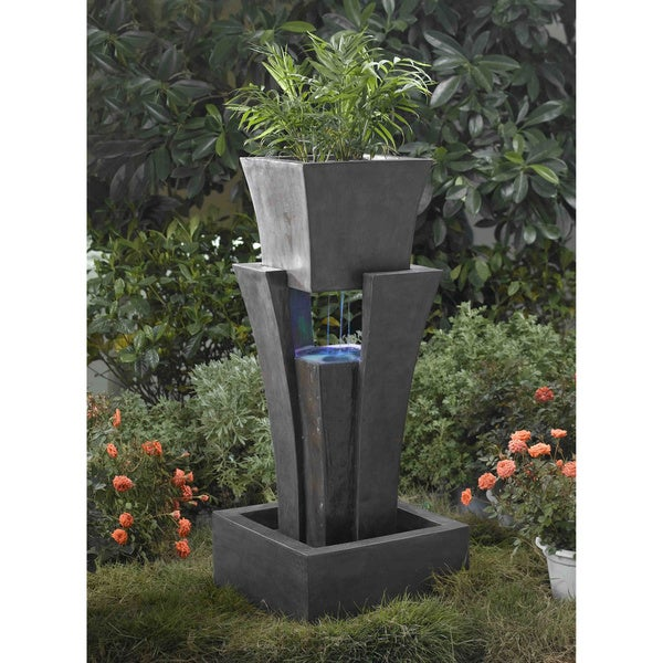 Raining Water LED Fountain with Planter