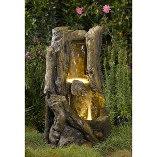 LED Lit Stump Water Fountain