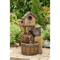 Rustic Bird House Outdoor Water Fountain