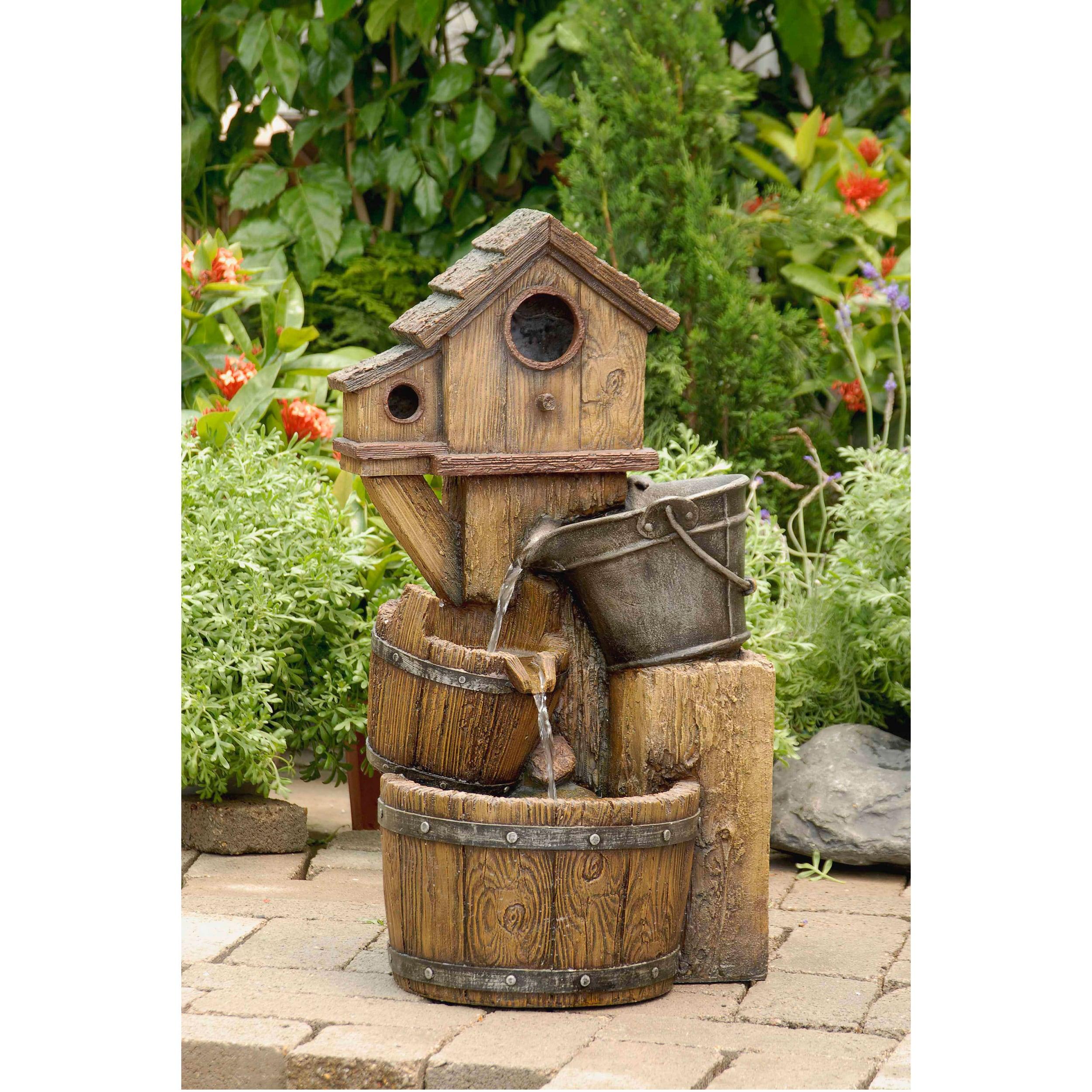 Rustic bird house outdoor water fountain overstock - Small outdoor water fountain ...