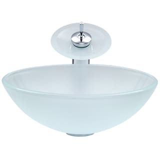 VIGO White Frost Glass Vessel Sink and Chrome Waterfall Faucet Set