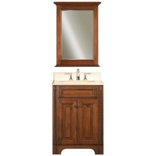 Water Creation 'Spain' Golden Single Sink Marble Top Vanity and Mirror