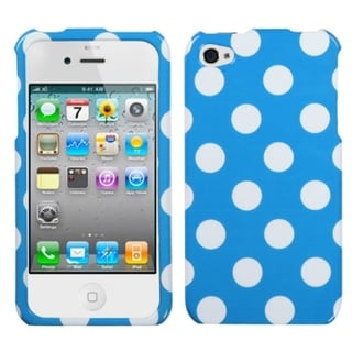 BasAcc White Polka Dots/ Blue Case for Apple iPhone 4/ 4S