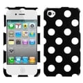 BasAcc White Polka Dots/ Black Case for Apple iPhone 4/ 4S