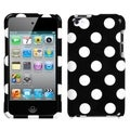 BasAcc White Polka Dots/ Black Case for Apple iPod Touch 4