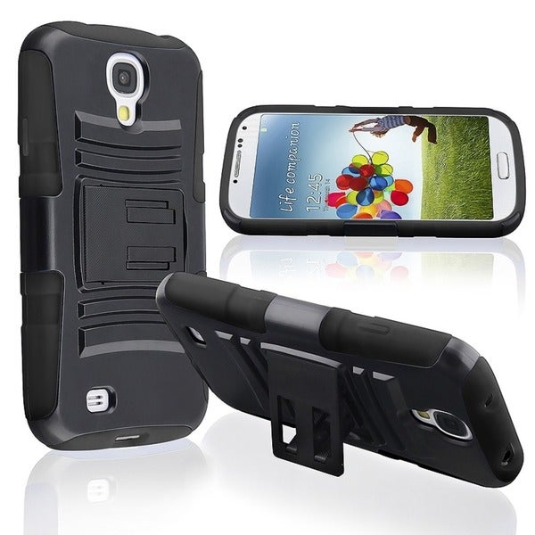 BasAcc Black/ Black Case with Stand for Samsung Galaxy S4 i9500