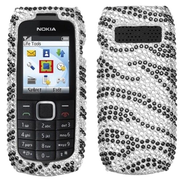 INSTEN Black/ Zebra Skin/ Diamante Phone Case Cover for Nokia 1616