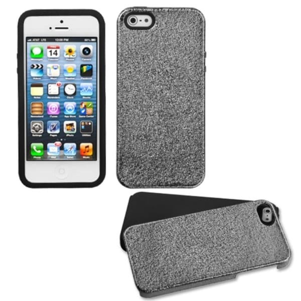 INSTEN Black Plate/ Matte Wrinkle/ Black Phone Case Cover for Apple iPhone 5