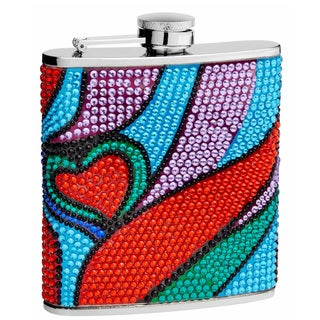 6-Ounce Rhinestone Heart Pattern Hip Flask