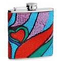 6-Ounce Rhinestone Heart Pattern Hip Flask